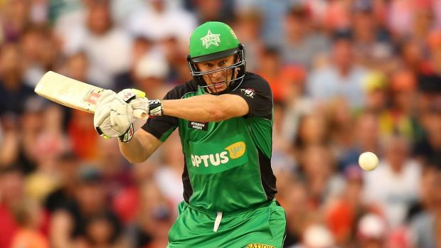 Stars' top-scorer David Hussey goes the cross-bat route.