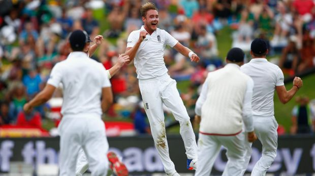 Broad celebrates after taking the wicket of De Villiers.