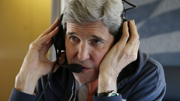US Secretary of State, John Kerry, on his plane en route to Vienna on Saturday.
