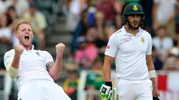 All-round talent: Ben Stokes celebrates after claiming the wicket of Proteas' Kagiso Rabada.