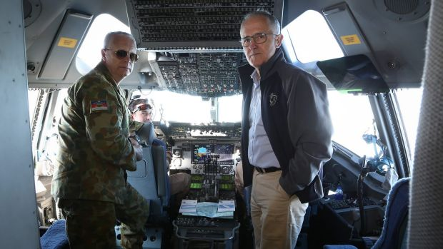 Chief of the Defence Force Air Chief Marshal Mark Binskin and Prime Minister Malcolm Turnbull in discussion on the ...