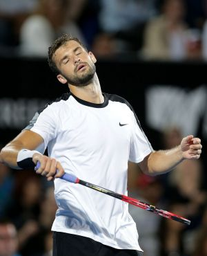 Disappointed: Grigor Dimitrov reacts to losing a point.