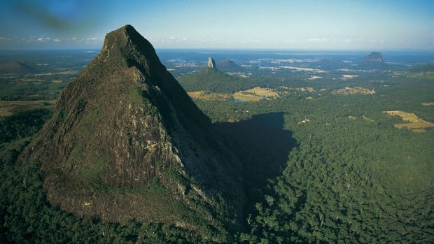 The Glass House Mountains in Queensland were also partly caused by volcanic hot spots.