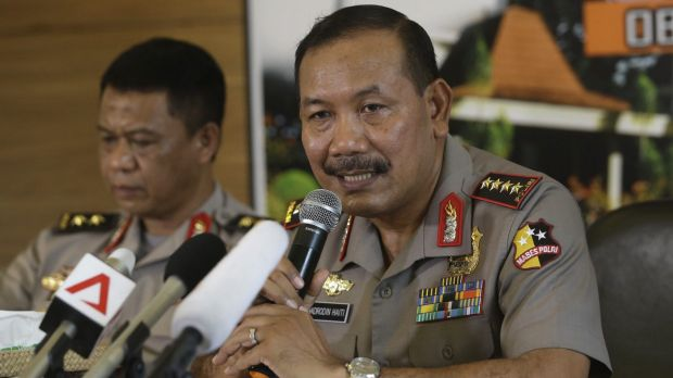Targeted: National police chief  Badrodin Haiti speaks to reporters after the January 14 Jakarta attacks.