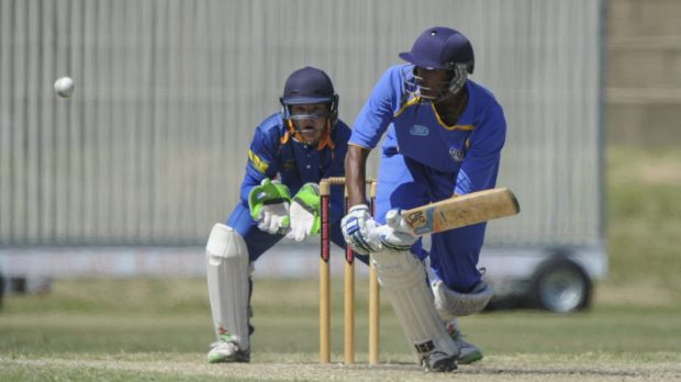 Lakshmn Shivakkumar on his way to 79 in Sunday's ACT Comets trial match at Freebody Oval.