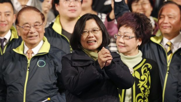 Taiwanese President-elect candidate Tsai Ing-wen celebrates winning the presidential election  in Taipei on January 16. ...