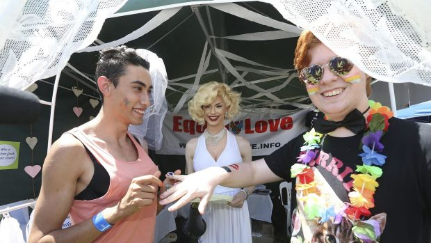 """Marilyn Monroe watched couples say """"I do"""" at the Midsumma Carnival."""