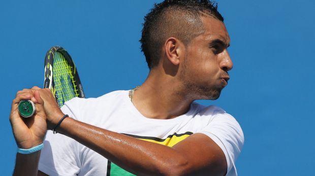 Australian hope Nick Krygios during a practice session ahead of the Australian Open at Melbourne Park.