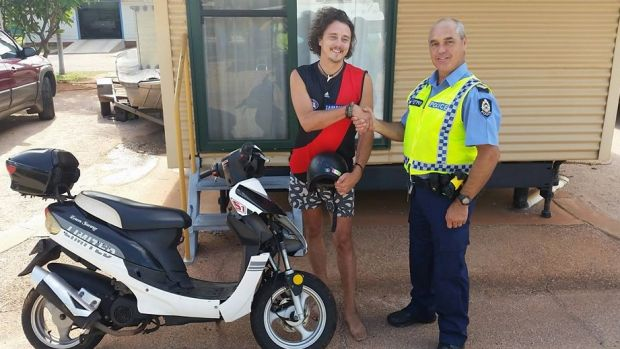 A Broome police officer received an unexpected thank-you note after his stern lecture on helmet safety ended up saving ...