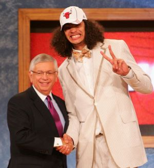 Way back when: NBA Commissioner David Stern poses for a photo with Joakim Noah after he was drafted ninth by the Chicago ...