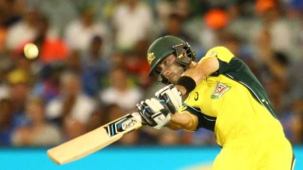 Glenn Maxwell hits one over the fence during a recent 50-over game at the MCG.