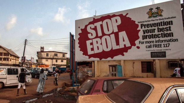An Ebola awareness banner in Freetown, Sierra Leone.