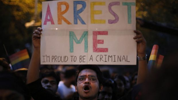 An Indian gay rights activist at a 2013 protest after the country's top court ruled a law criminalising homosexuality ...