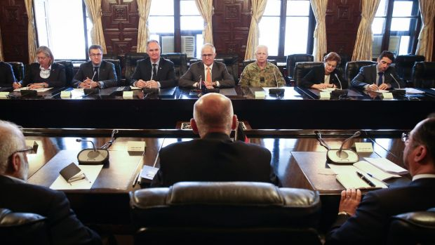 Australian Ambassafor to Afghanistan Matt Anderson (3rd from left), Prime Minister Malcolm Turnbull and Chief of the ...