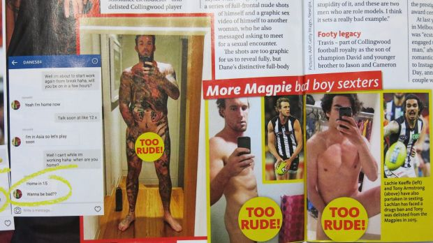 Woman's Day is alleging Collingwood footballers took these semi-naked photos.