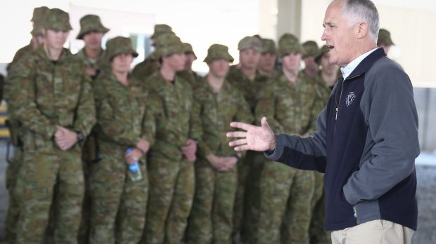 Prime Minister Malcolm Turnbull addresses ADF trainers and force protection troops  in Kabul.