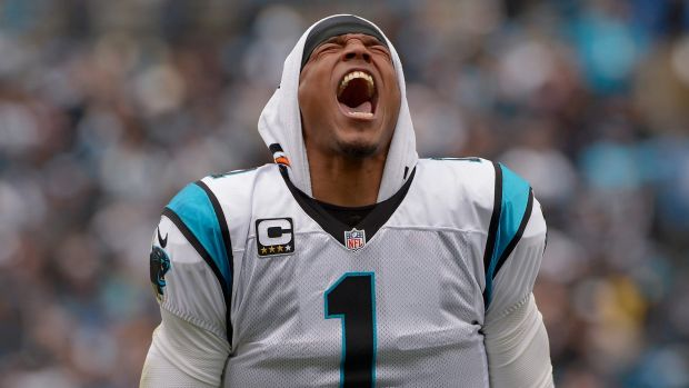 Jubilation: Panthers quarterback Cam Newton and his Carolina side are one win from a Super Bowl berth.