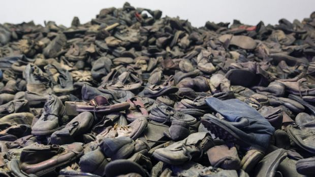 Exhibition of the remaining belongings (shoes) of the people killed in Auschwitz, a former Nazi extermination camp