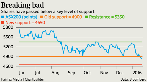 Shares have passed below a key level of support.