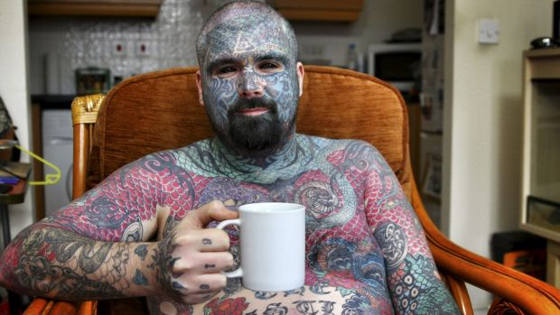 A tattooed participant in <i>2000 Tattoos But Don't Judge Me.</i>