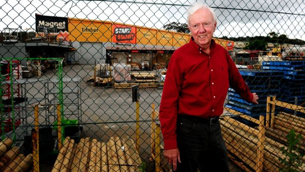 Magnet Mart founder Paul Donaghue outside the Queanbeyan store in 2010 after he sold the chain to Woolworths.