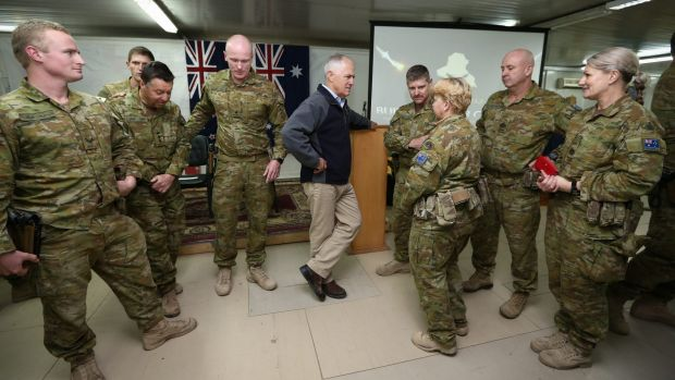 Prime Minister Malcolm Turnbull during his visit to Taji Military Complex to visit troops from Task Group Taji, on Saturday.