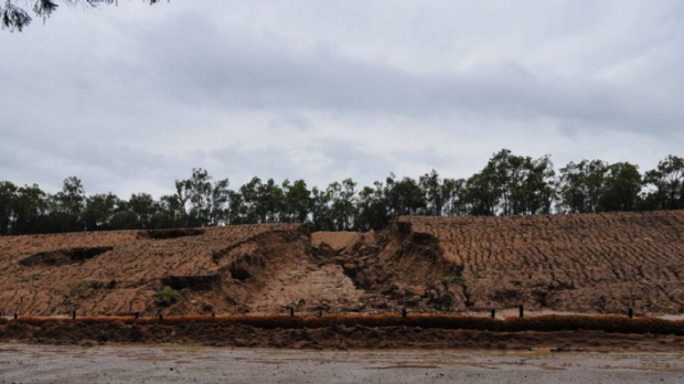 Section of Rio Tinto's Warkworth sediment dam that gave way during the early January big rains.
