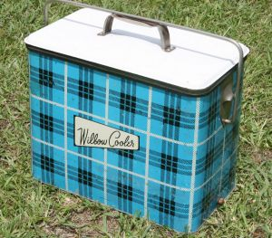An old metal Willow Cooler with its tartan pattern.