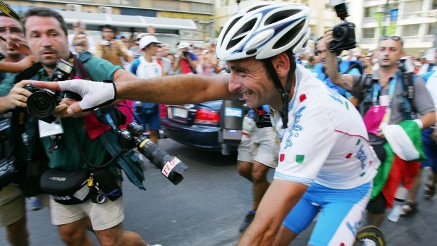 Champion rider: Italy's Paolo Bettini following his gold medal win in the men's road race at the Athen Olympics