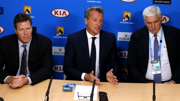 ATP chairman Chris Kermode (centre) speaks to the media, with Nigel Willerton, head of the Tennis Integrity Unit (right) ...