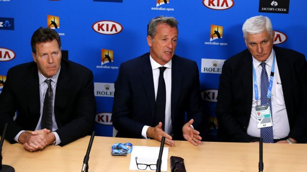 ATP chairman Chris Kermode, centre, with Tennis Integrity Unit head Nigel Willerton and ATP vice chairman Mark Young, ...
