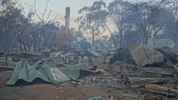 The aftermath of the Crib Point fire.