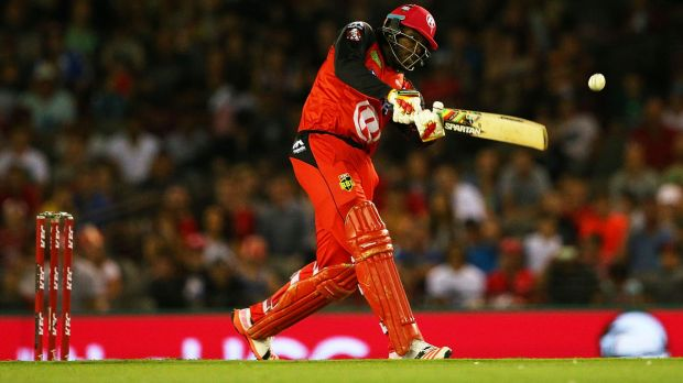 The Renegades' Chris Gayle hits a six during the Big Bash League match against Adelaide on Monday.