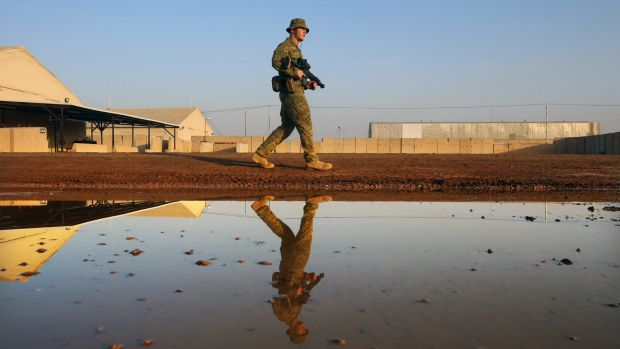 Australian soldier Private Kurt Heron is part of the Force Protection Force from 8/9 RAR Task Group in Taji, Iraq. ...