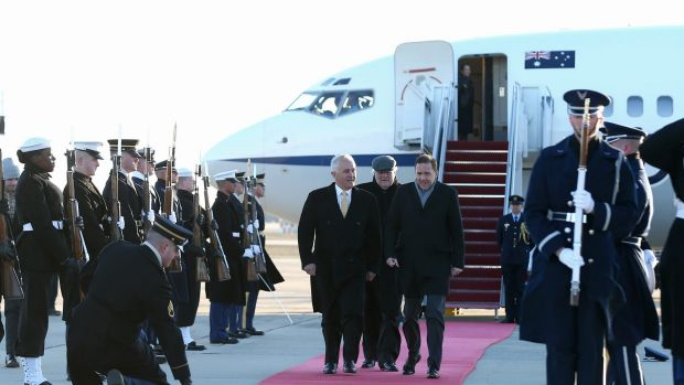 Prime Minister Malcolm Turnbull receives a ceremonial welcome on his arrival at Andrews Air Force Base.
