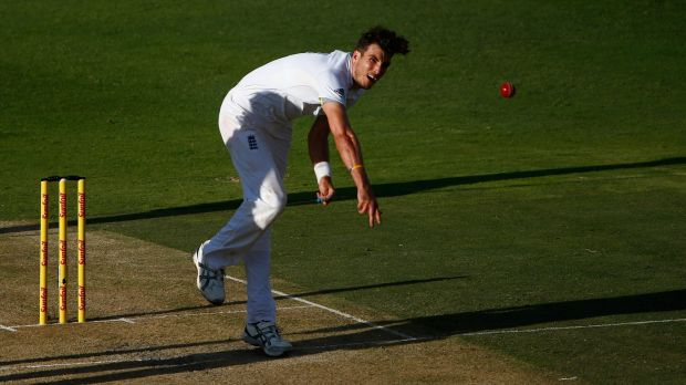 Out: Steven Finn of England bowls during day one of the third Test.