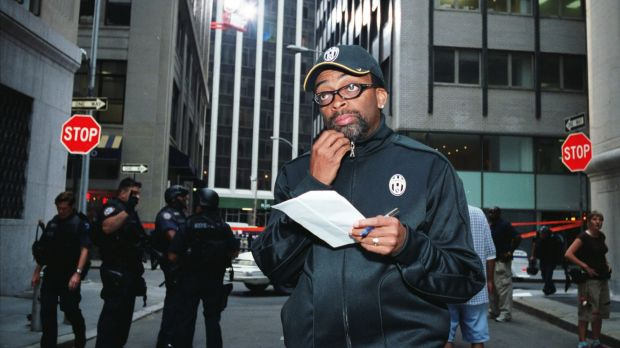Director Spike Lee on the set of his film <i>Inside Man</i>.