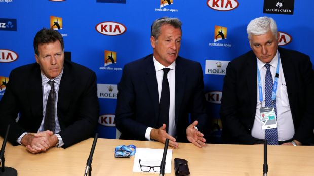 ATP chairman Chris Kermode, centre, speaks during a press conference at the Australian Open on Monday.