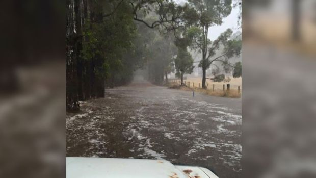 "The rain in Pemberton has been described as ""massive"". This photo was taken in nearby Manjimup."