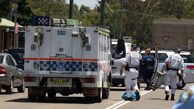 Police closed Lalor Road following the shooting outside Quakers Hill police station.