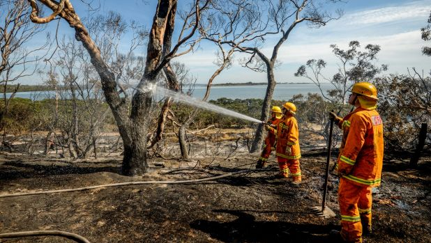One home and many sheds were destroyed by a fire near Crib Point.