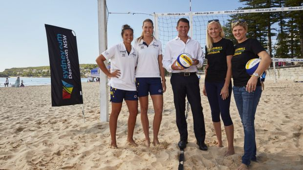 Bright future: Rio hopefuls Mariafe Artacho del Solar and Nicole Laird with NSW Premier Mike Baird and Sydney 2000 goal ...