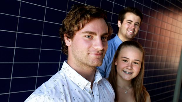 Jake Laferla (left), Amy McCammon and Angus Shephard have received placements at Western Sydney University.