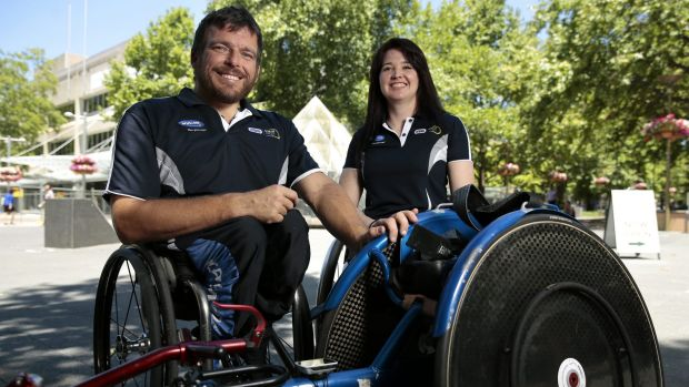 Kurt Fearnley and Angie Ballard at the Race on Rollers launch event.