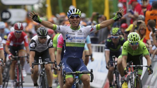 Speed to burn: Caleb Ewan won stage 1 of the Tour Down Under in fine style.