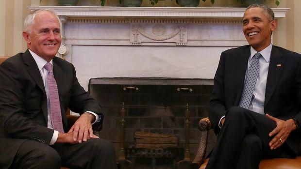 All smiles: Prime Minister Malcolm Turnbull and US President Barack Obama.