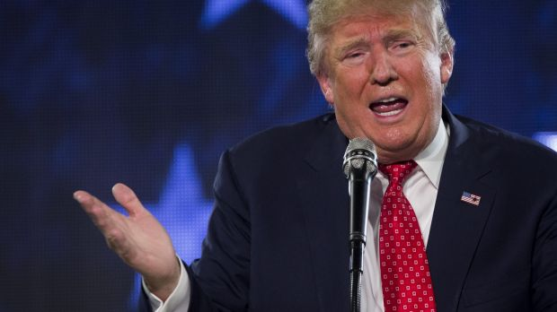 Donald Trump speaks during a Liberty University Convocation in Lynchburg, Virginia.