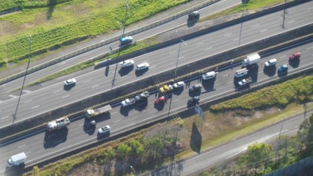 A five car nose-to-tail crash on the Pacific Motorway at Loganholme has caused heavy delays for commuters on Wednesday ...