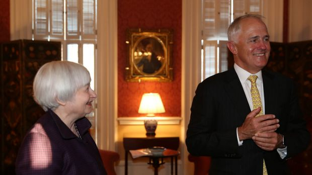 China on their minds: Malcolm Turnbull meets Janet Yellen, chairwoman of the Board of Governors of the Federal Reserve ...