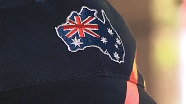The offending Australia Day hat sold by Woolworths.
